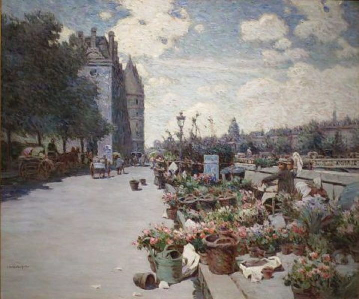 """Quai Aux Fleurs, Paris"" by Luther Emerson Van Gorder (1894-99)"