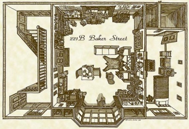 Map of the Baker Street House of Sherlock Holmes