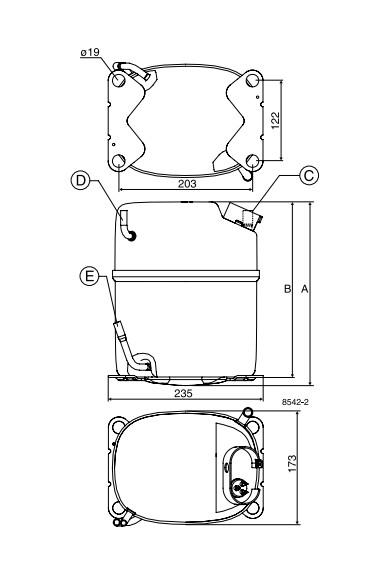 lbp7 1 - Компрессор Danfoss GS34CLX (R404A/R507, 220-240 В, 50 Гц)