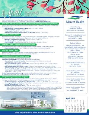 Mercer Health April Events