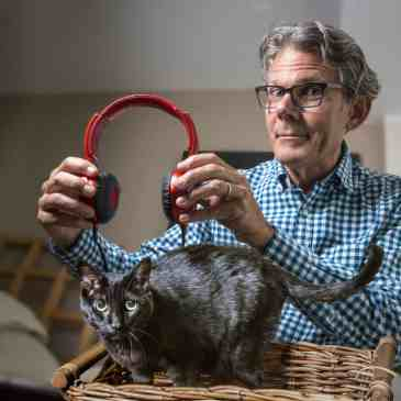 BETHESDA, MD - SEPTEMBER 25: Composite photo of David Teie, who is composing music for cats, in his apartment on September, 25, 2015 in Bethesda, MD. (Photo by Bill O'Leary/The Washington Post)