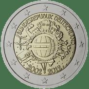 Moneda Conmemorativa de 2 Euros de Alemania 2012 - Conmemorativa Común por el 10 Aniversario de la Entrada en Circulación del Euro