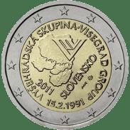 Moneda Conmemorativa de 2 Euros de Eslovaquia 2011 - 20 Aniversario del Grupo de Visegrado