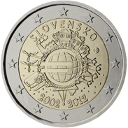 Moneda Conmemorativa de 2 Euros de Eslovaquia 2012 - Conmemorativa Común por el 10 Aniversario de la Entrada en Circulación del Euro