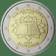 Moneda Conmemorativa de 2 Euros de Eslovenia 2007 - Conmemorativa Común por el 50 Aniversario del Tratado de Roma