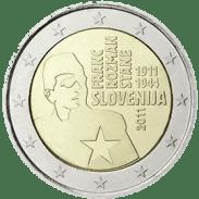 Moneda Conmemorativa de 2 Euros de Eslovenia 2011 - Centenario del Nacimiento de Franc Rozman-Stane