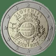 Moneda Conmemorativa de 2 Euros de Eslovenia 2012 - Conmemorativa Común por el 10 Aniversario de la Entrada en Circulación del Euro