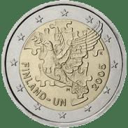 Moneda Conmemorativa de 2 Euros de Finlandia 2005 - 60 Años de la ONU y 50 del ingreso de Finlandia