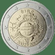 Moneda Conmemorativa de 2 Euros de Irlanda 2012 - Conmemorativa Común por el 10 Aniversario de la Entrada en Circulación del Euro