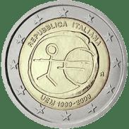 Moneda Conmemorativa de 2 Euros de Italia 2009 - Conmemorativa Común por el 10 Aniversario de la Unión Económica y Monetaria