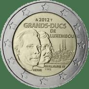 Moneda Conmemorativa de 2 Euros de Luxemburgo 2012 - Centenario de la Muerte del Gran Duque Guillaume IV