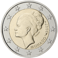 Moneda Conmemorativa de 2 Euros de Mónaco 2007 - 25 Años de la Muerte de la Princesa Grace Kelly