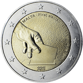 Moneda Conmemorativa de 2 Euros de Malta 2011 - Primera Elección de Representantes en 1849