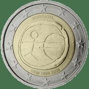 Moneda Conmemorativa de 2 Euros de Portugal 2009 - Conmemorativa Común por el 10 Aniversario de la Unión Económica y Monetaria