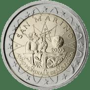 Moneda Conmemorativa de 2 Euros de San Marino 2005 - Año Mundial de la Física