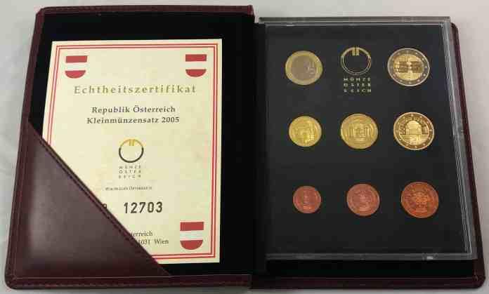 Estuche Proof Austria 2005 2 Euros Conmemorativos Tratado del Estado