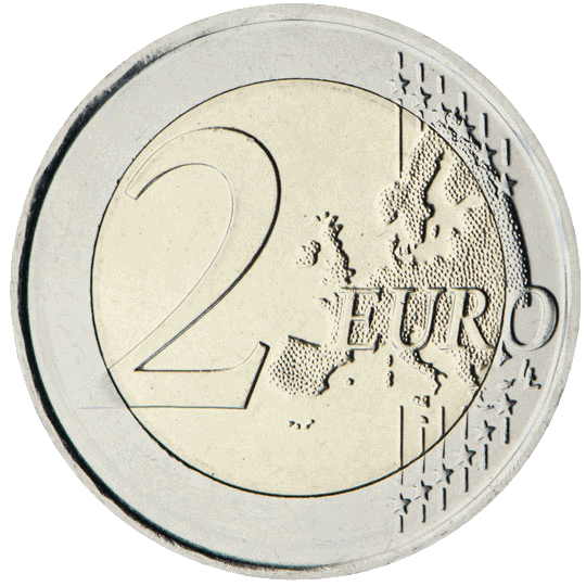 Cara común 2 euros, mapa nuevo