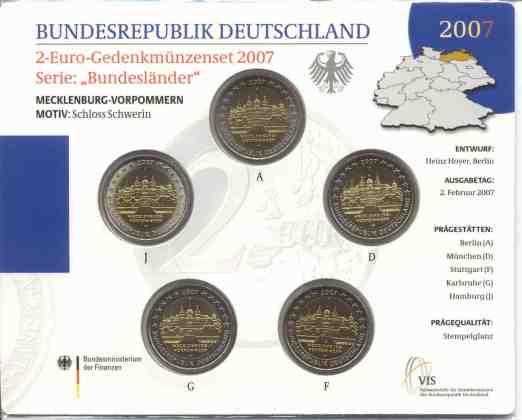 Cartera Flor de Cuño Alemania 2007 2 Euros Conmemorativos Mecklenburg-Vorpommern
