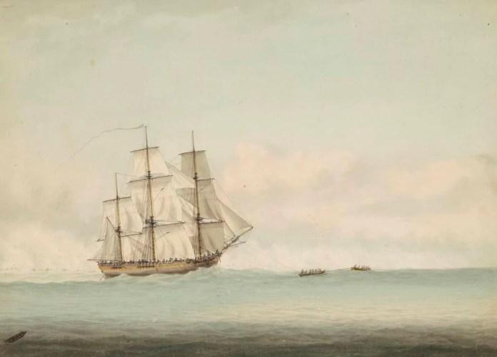 HMS Endevour, por Samuel Atkins