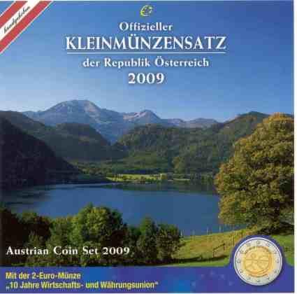 Cartera Anual 2 Euros Conmemorativos Austria 2009 - 10 Años de la UEM