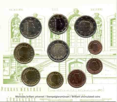 Cartera Anual Luxemburgo 2009 2 Euros Conmemorativos Charlotte y UEM