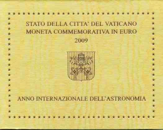 Cartera Vaticano 2009 2 Euros Conmemorativos Año Internacional Astronomía
