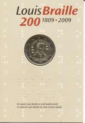 Coincard Bélgica 2009 2 Euros Conmemorativos Louis Braille