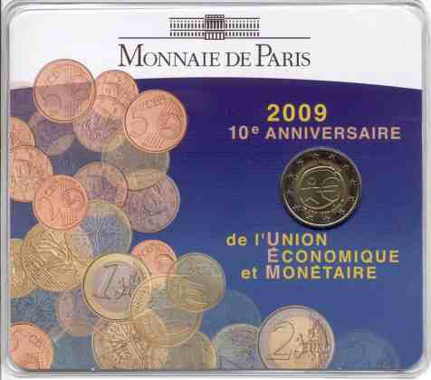 Coincard Francia 2009 2 Euros Conmemorativos 10 Años de la UEM