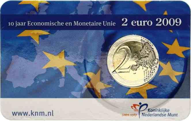 Coincard Holanda 2009 2 Euros Conmemorativos 10 Años de la UEM