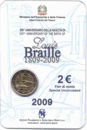 Coincard Italia 2009 2 Euros Conmemorativos Louis Braille