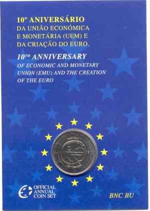 Coincard Portugal 2009 2 Euros Conmemorativos 10 Años de la UEM