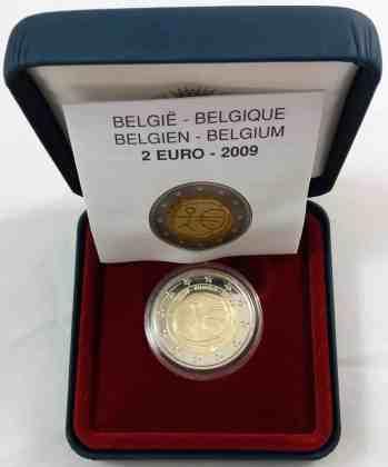Estuche Individual Proof Bélgica 2009 2 Euros Conmemorativos 10 Años de la UEM