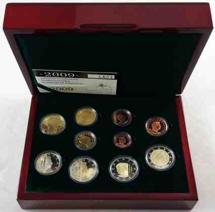Estuche Proof Luxemburgo 2009 2 Euros Conmemorativos Charlotte y 10 Años de la UEM