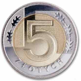 Polonia, 5 Zlotych Serie 1995, Reverso