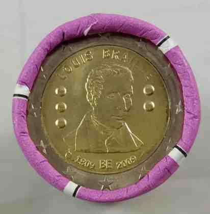 Rollo Bélgica 2009 2 Euros Conmemorativos Louis Braille