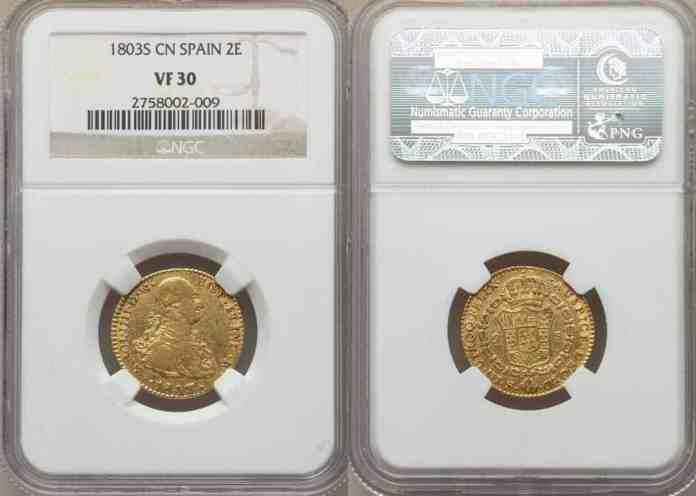 2 Escudos España 1803 VF30