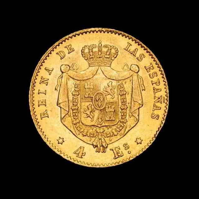 4 escudos 1867 Isabel II Reverso
