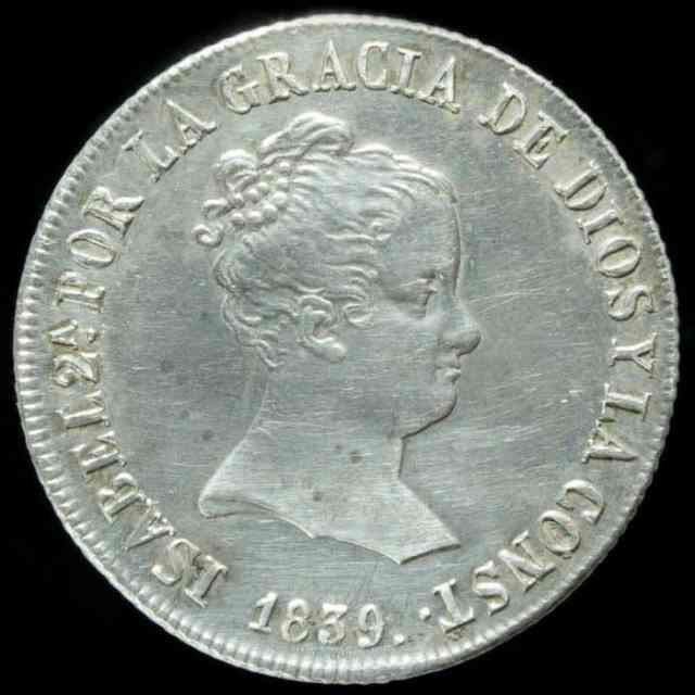 4 reales 1839 Sevilla Isabel II Anverso