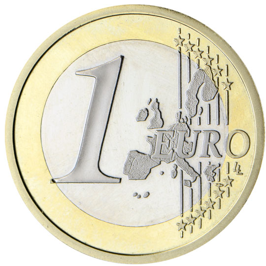 1 Euro Cara Común Mapa Antiguo