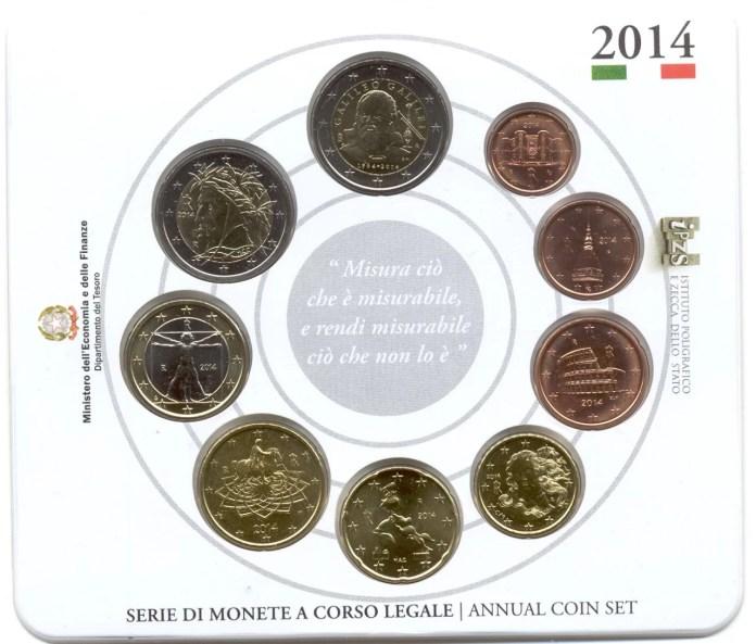 Cartera Anual Moneda Conmemorativa de 2 Euros de Italia 2014 - 450 Años del Nacimiento de Galileo Galilei