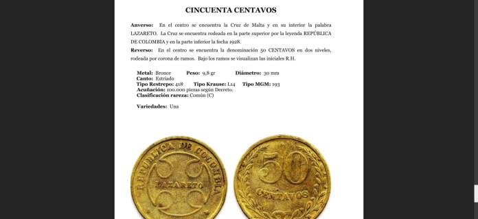 Ficha Moneda Catálogo de Lazareto