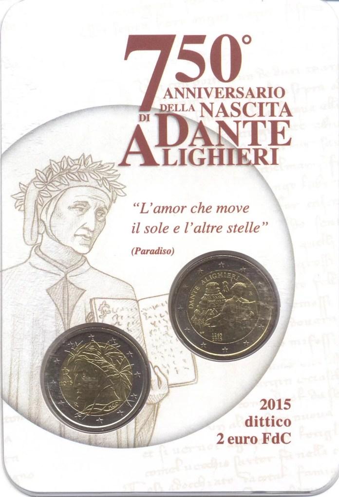 Coincard Moneda Conmemorativa de 2 Euros de Italia 2015 - 750 Años del Nacimiento de Dante Alighieri