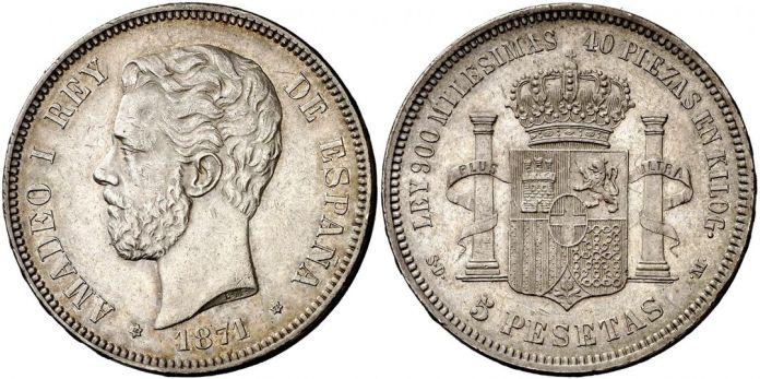 5 Pesetas 1871 *72