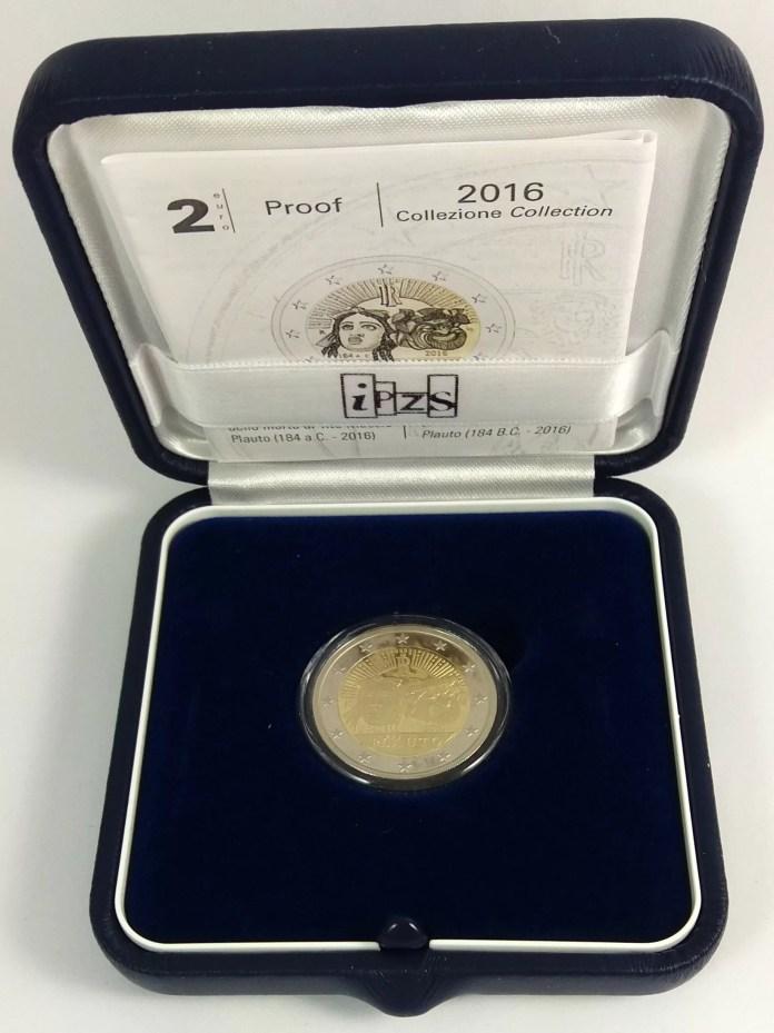 Estuche Proof Moneda Conmemorativa de 2 Euros de Italia 2016 - 2200 Años de la Muerte de Plauto