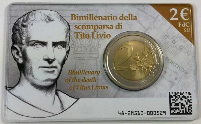 Coincard Moneda Conmemorativa de 2 Euros de Italia 2017 - 2000 Años de la Muerte de Tito Livio