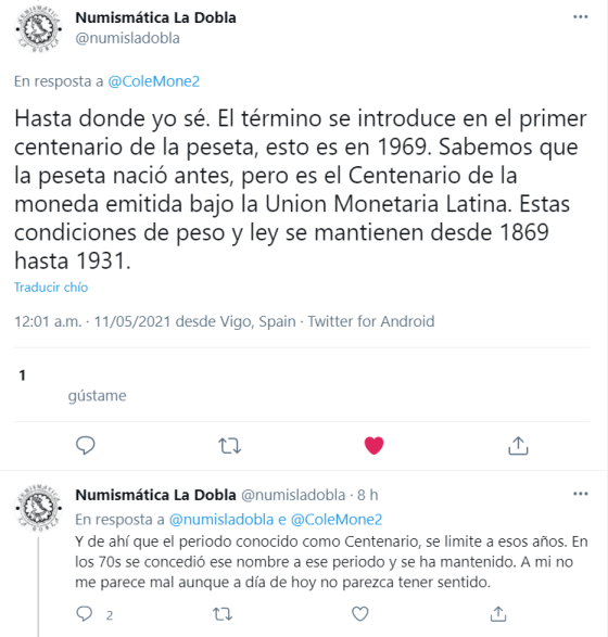 Twitter Centenario de la Peseta explicacion
