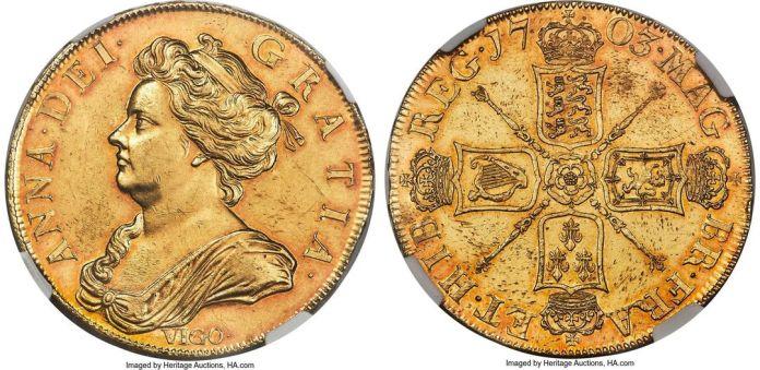 5 Guineas 1703 Vigo