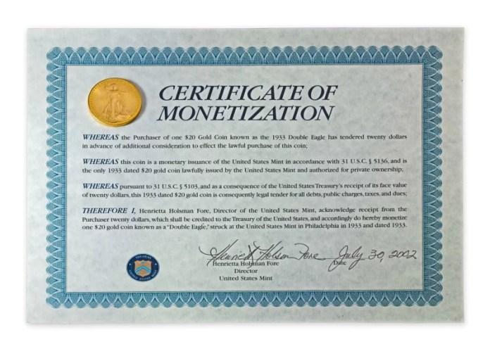 Double Eagle 1933 Certificado Monetización