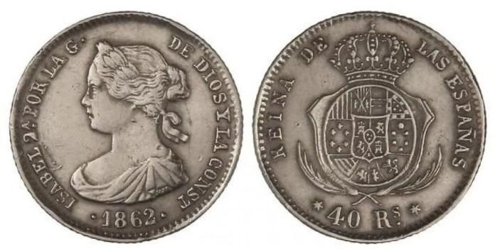 Isabel II 40 Reales 1862 Falsa de Epoca Platino