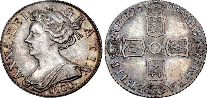 Sixpence 1703 Vigo